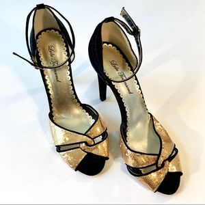 Lulu Townsend Black and Gold Ankle Strap Heels